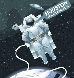 Astronaut in spacesuit flying in space vector image