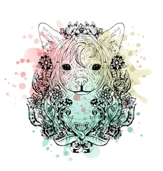 Chinese crested graphic dog abstract vector
