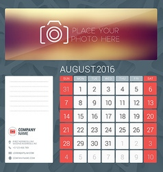 Desk calendar for 2016 year august stationery vector