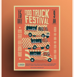 food truck street food festival poster vector image vector image