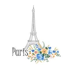 paris background floral paris sign with flowers vector image vector image