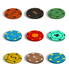 set of different casino chips in 3d vector image vector image