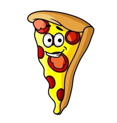Slice of happy cheesy pepperoni pizza vector