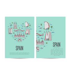 spain travel tour booklet set in linear style vector image vector image