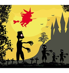 zombie attacks - funny card for Halloween vector image vector image