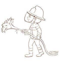 A plain sketch of a fireman holding a hose vector image