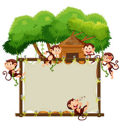 border template with cute monkeys vector image vector image