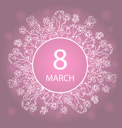 march 8 happy womens day frame flower and herb vector image vector image