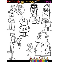 people set cartoon coloring page vector image vector image