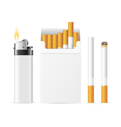 Realistic template blank white cigarette pack with vector