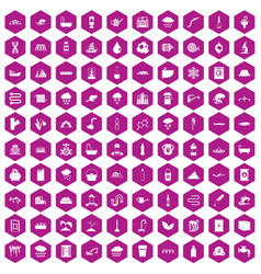 100 water supply icons hexagon violet vector