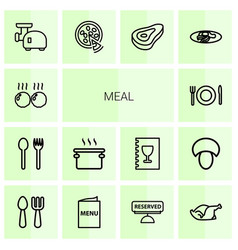 14 meal icons vector