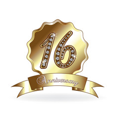 16th anniversary emblem medal vector image