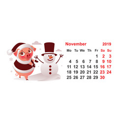 2019 year calendar november month pig makes vector image
