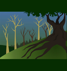 A forest landscape with a big and dark tree in vector
