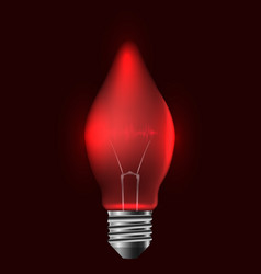 A realistic red bulb with pulse vector