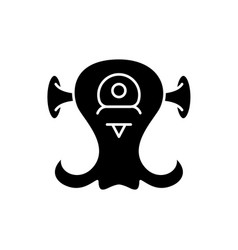 alien creature black icon sign on isolated vector image