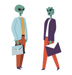 Alien workers with briefcases extraterrestrial vector