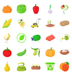 arboriculture icons set cartoon style vector image