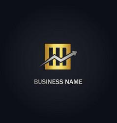 Arrow business square gold logo vector