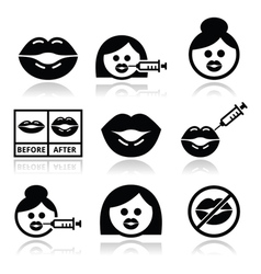 Big lips lip augmentation icons - beauty concept vector