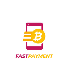 Bitcoin payment fast money transfer icon vector