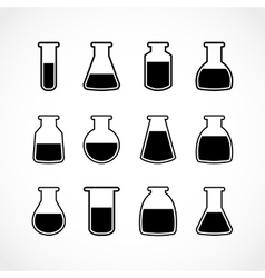 black laboratory flask set vector image