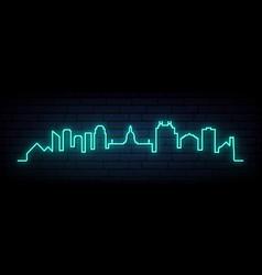 Blue neon skyline edmonton bright edmonton vector