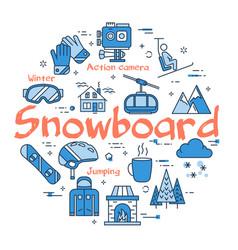 blue snowboard concept vector image