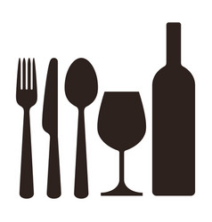 Bottle wineglass knife fork and spoon vector