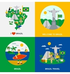 Brazilian Culture 4 Flat Icons Square vector image