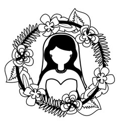 bride with flower garland wedding day vector image
