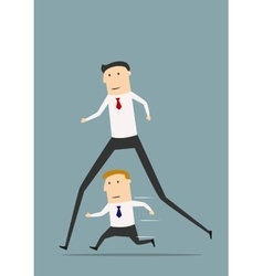 Businessman with long legs winning competition vector image