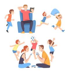 calm parents and mischievous children running vector image