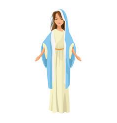 Cartoon cute virgin mary character nativity design vector