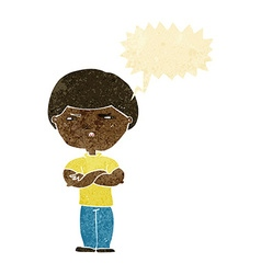 Cartoon grumpy man with speech bubble vector
