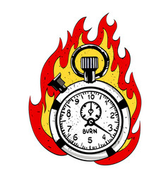 Cartoon image of flaming stop watch vector
