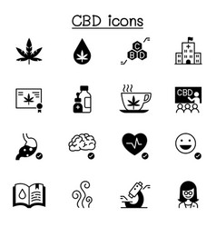 cbd cannabis icons set graphic design vector image