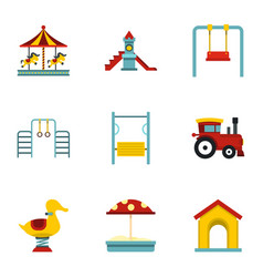 children playing elements icons set flat style vector image