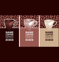Coffee labels with cups barcodes and beans vector