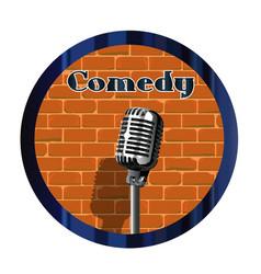 Comedy mic circle vector