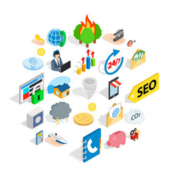 computer support icons set isometric style vector image