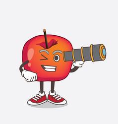 crab apple cartoon mascot character using vector image