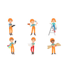 cute kids construction workers set boys and girls vector image