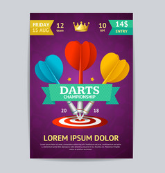 darts tournament poster card template vector image