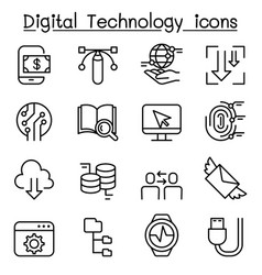 digital data technology icon set in thin line vector image