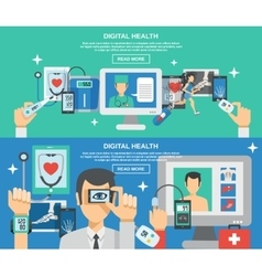 Digital Health Banner Set vector