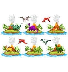 Dinosaurs living on the island vector image