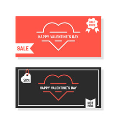 discounts banners for happy valentine day vector image