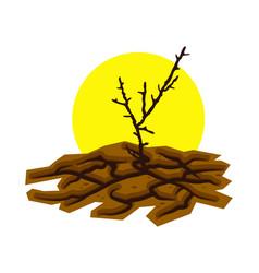 Dry dead tree in cracked desert land vector